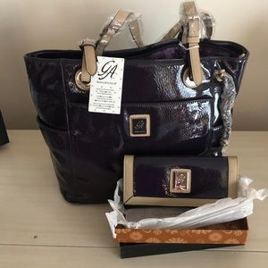 Grace Adele purple patent tote purse and wallet